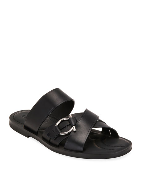 Salvatore Ferragamo Men's Atina Gancio Leather Slide Sandals