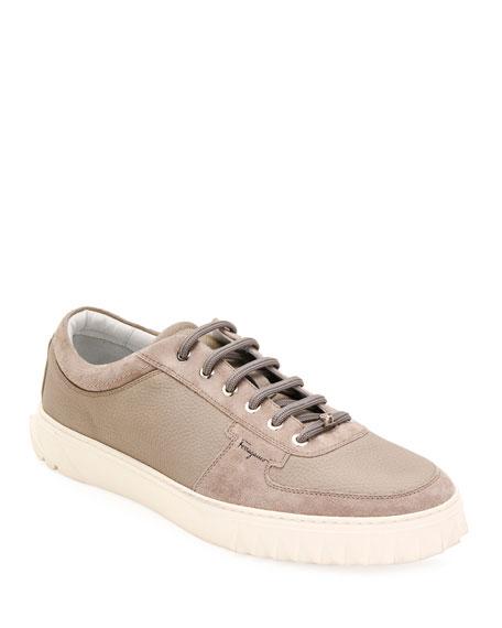 Salvatore Ferragamo Men's Scuby Leather/Suede Low-Top Sneakers