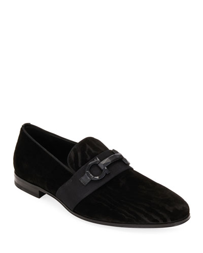 Men's Schwartz Velvet Wood-Pattern Gancini Loafers