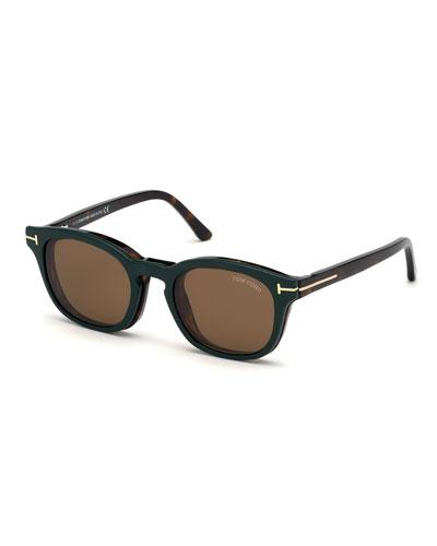 Men's Havana Optical Glasses w/ Magnetic Clip-On Sun Lenses