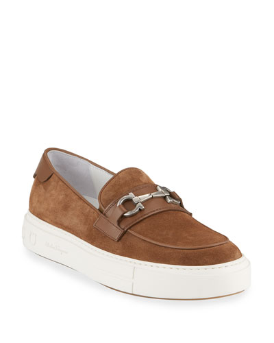 Men's Saturday Suede Gancini Loafer Sneakers, Brown