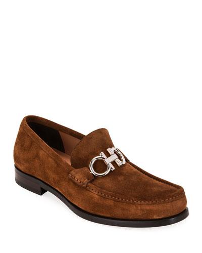 Men's Rolo Suede Gancini-Bit Loafers