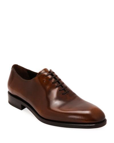 Men's Angiolo Tramezza Whole-Cut Leather Oxford Shoes