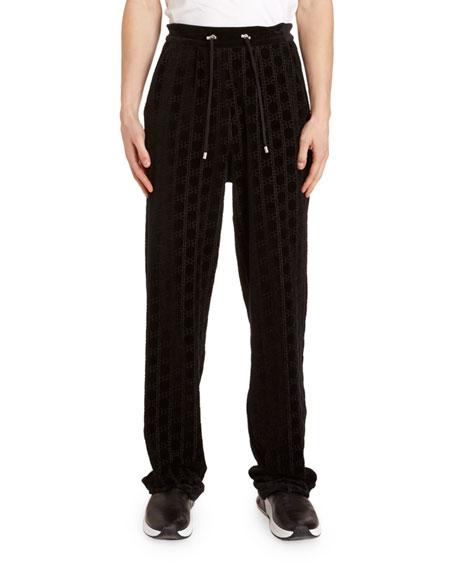 Balmain Men's Monogram Velvet Sweatpants