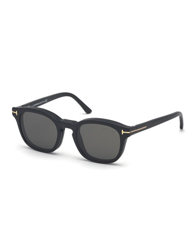 Men's Square Optical Glasses w/ Magnetic Clip-On  Sun Lenses