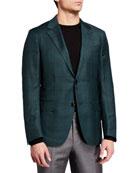 Ermenegildo Zegna Men's Plaid Wool-Silk Sport Jacket