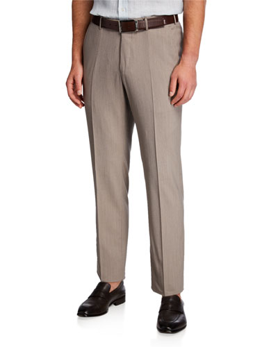 High Performance Wool Flannel Flat-Front Regular-Fit Trousers