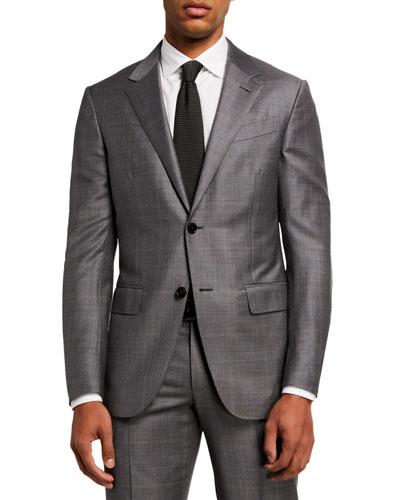 Men's Light Plaid Two-Piece Wool Regular-Fit Suit