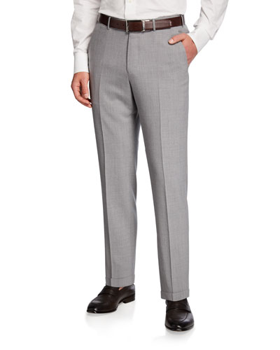 High Performance Regular-Fit Wool Flannel Flat-Front Trousers