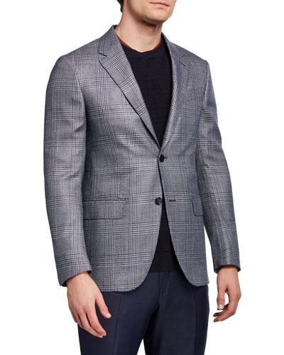 Men's Plaid Silk-Blend Sport Jacket