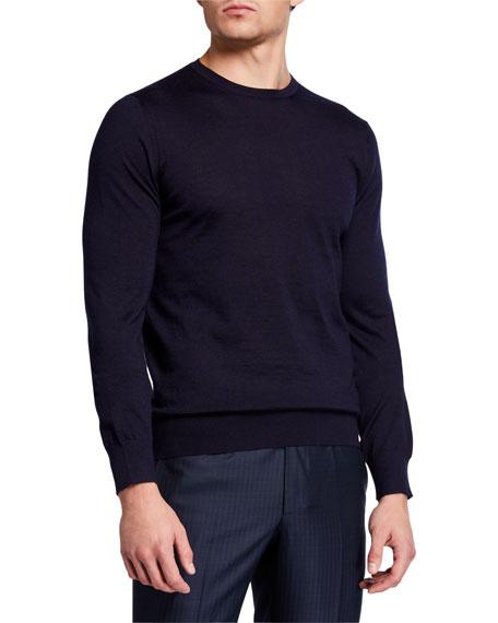 Ermenegildo Zegna Men's Solid Cashmere-Silk Crewneck Sweater