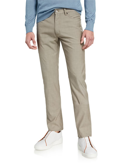 Ermenegildo Zegna Men's Regular-Fit Slim Stretch-Wool Pants