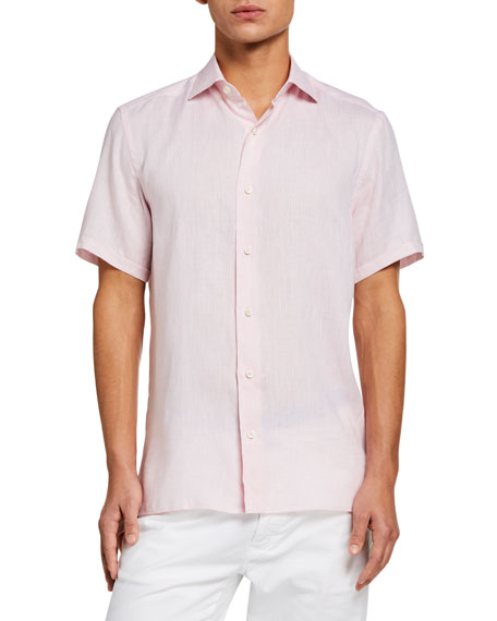 Ermenegildo Zegna Men's Solid Linen Short-Sleeve Regular-Fit Sport Shirt