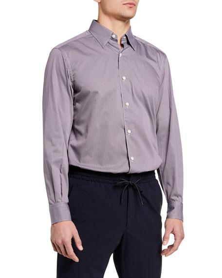 Ermenegildo Zegna Men's Micro-Chevron Regular-Fit Sport Shirt