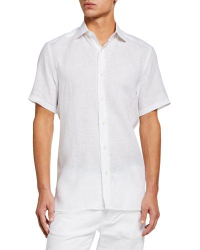 Men's Solid Linen Short-Sleeve Sport Shirt