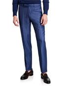 Ermenegildo Zegna Men's Sharkskin Trofeo Regular-Fit Dress Pants,