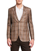 Ermenegildo Zegna Men's Cashmere Regular-Fit Plaid Two-Button
