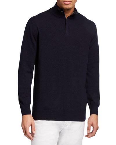 Men's Quarter-Zip Mock-Neck Cashmere Sweater