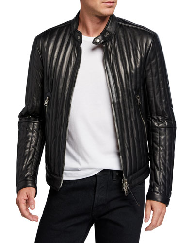 Men's Vertical Channel Leather Racer Jacket