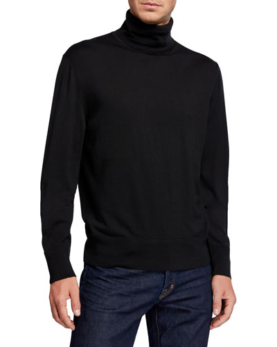 Men's Long-Sleeve Turtleneck Merino Wool Sweater