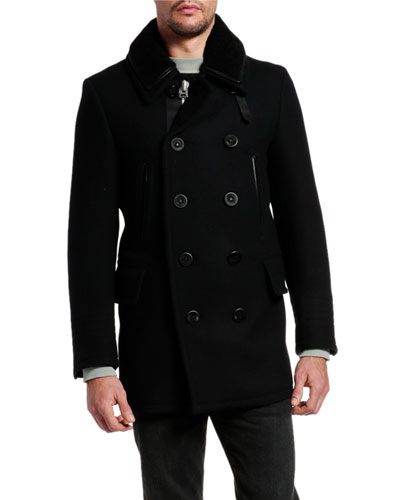 Men's Japanese Melton Wool Pea Coat