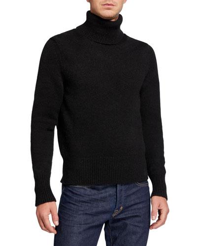 Men's Solid Cashmere-Blend Turtleneck Sweater