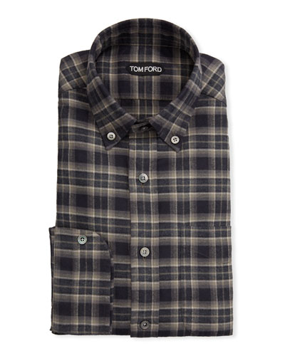 Men's Tartan Plaid Dress Shirt