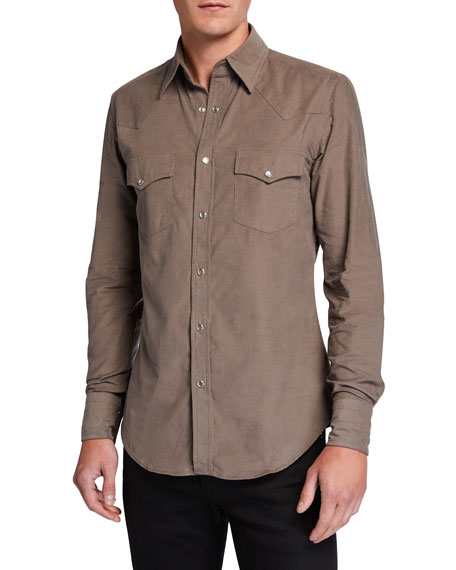 TOM FORD Men's Western Cotton Sport Shirt