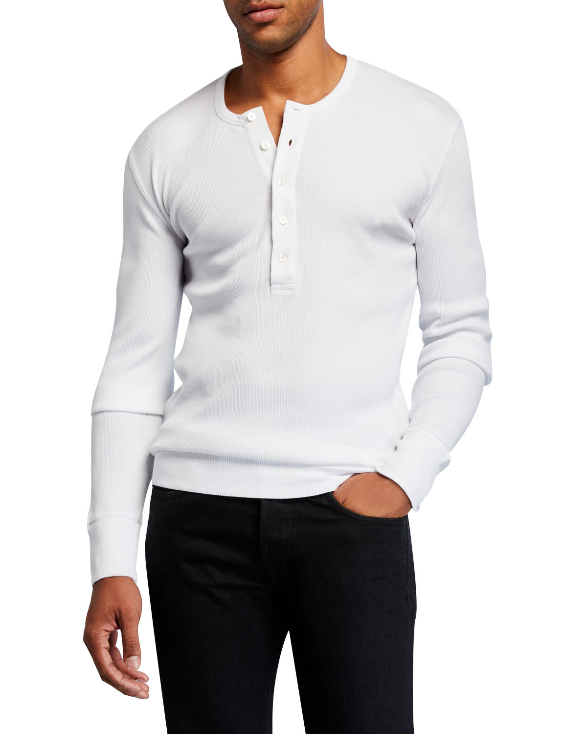 Tom Ford T-shirts MEN'S SOLID COTTON HENLEY SHIRT