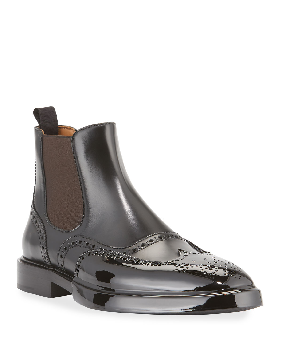 Brogue Chelsea Boots with Rubber Toe Cap