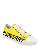 Burberry Men's Larkhall Logo-Print Cotton Gabardine Sneakers