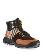 Burberry Men's Vintage Check/Leather Hiking Boots