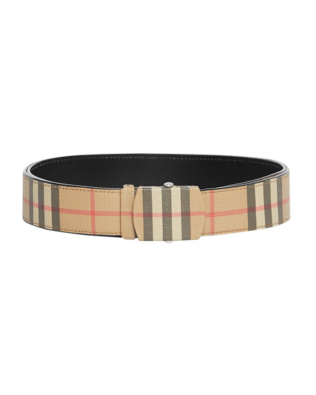 Burberry Men's Vintage Check E-Canvas Belt