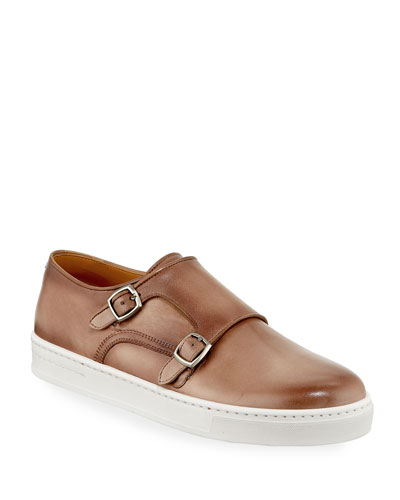 Double-Monk Leather Sneakers