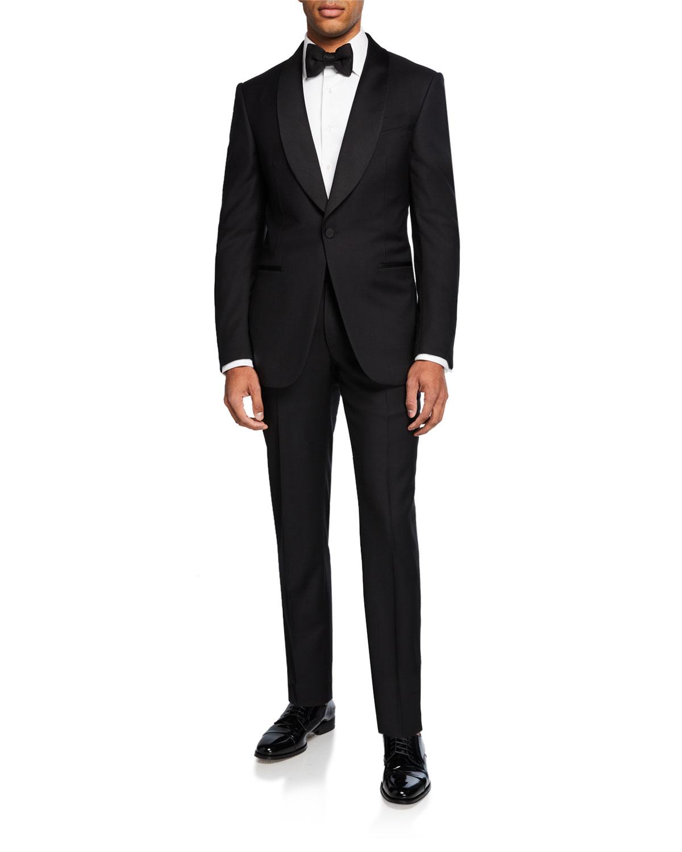 Men's Shawl-Collar Two-Piece Wool Tuxedo