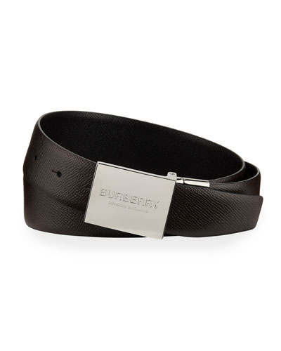Men's Reversible Grained Leather Belt with Logo Plaque
