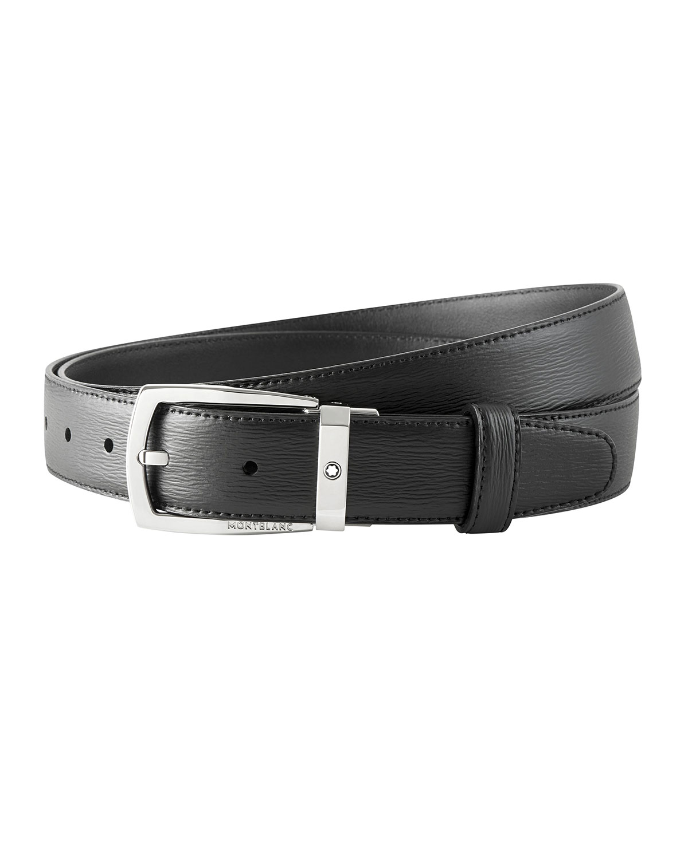 Men's Trapeze Textured Cowhide Leather Belt