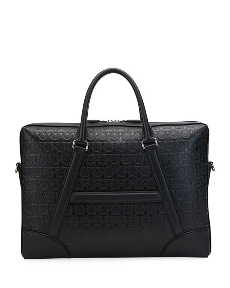 Salvatore Ferragamo Men's Gancini-Embossed Leather Briefcase