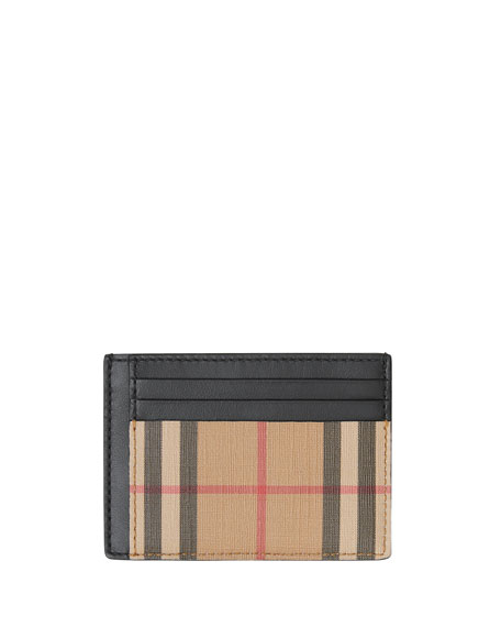 Burberry Men's Chase Vintage Check Card Case with Money Clip
