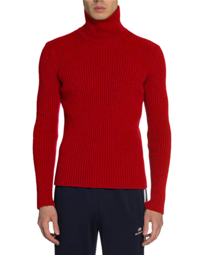 Men's Ribbed Cashmere Turtleneck Sweater