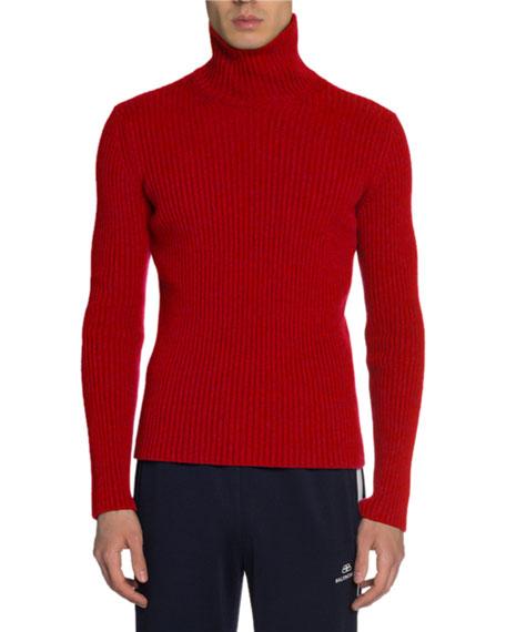 Balenciaga Men's Ribbed Cashmere Turtleneck Sweater
