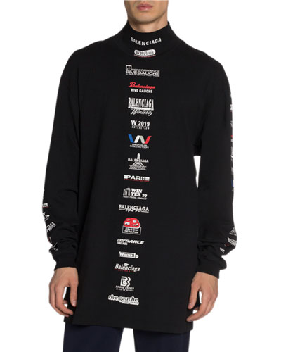 Men's Mock-Neck Jersey T-Shirt with Multi-Logo Stripes
