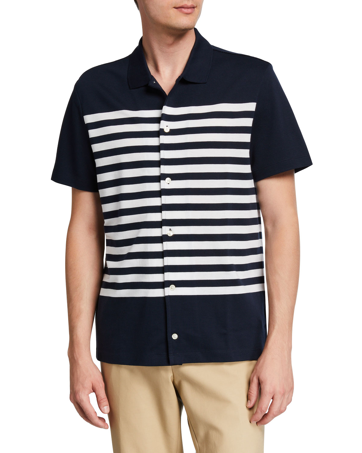 Michael Kors T-shirts MEN'S STRIPED SHORT-SLEEVE SPORT SHIRT