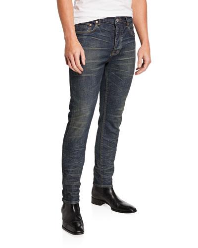 Men's Slim-Skinny Whiskered Jeans