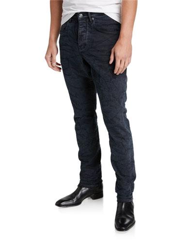 Men's Dark Denim Whiskered Jeans
