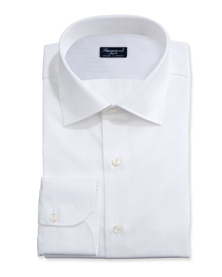 Finamore Men's Solid Bib-Front Tuxedo Shirt