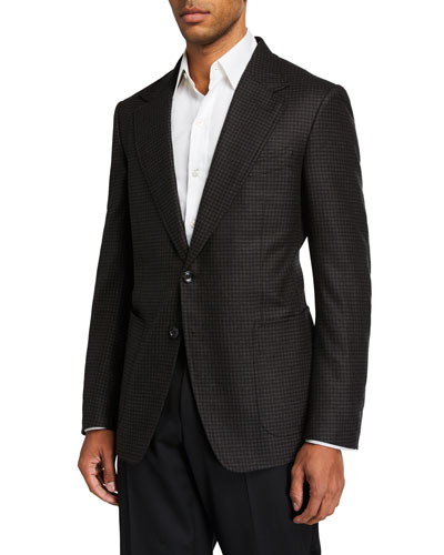 Men's Shelton Flannel Two-Button Jacket with Elbow Patches