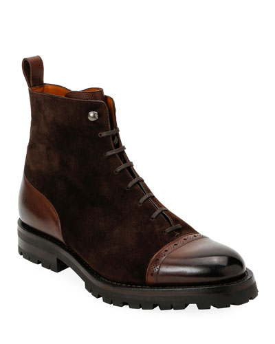 Men's Gerome Brogue Leather & Suede Lug-Sole Boots