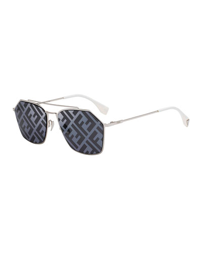 Men's 56mm FF Logo-Monogram Geometric Metal Sunglasses