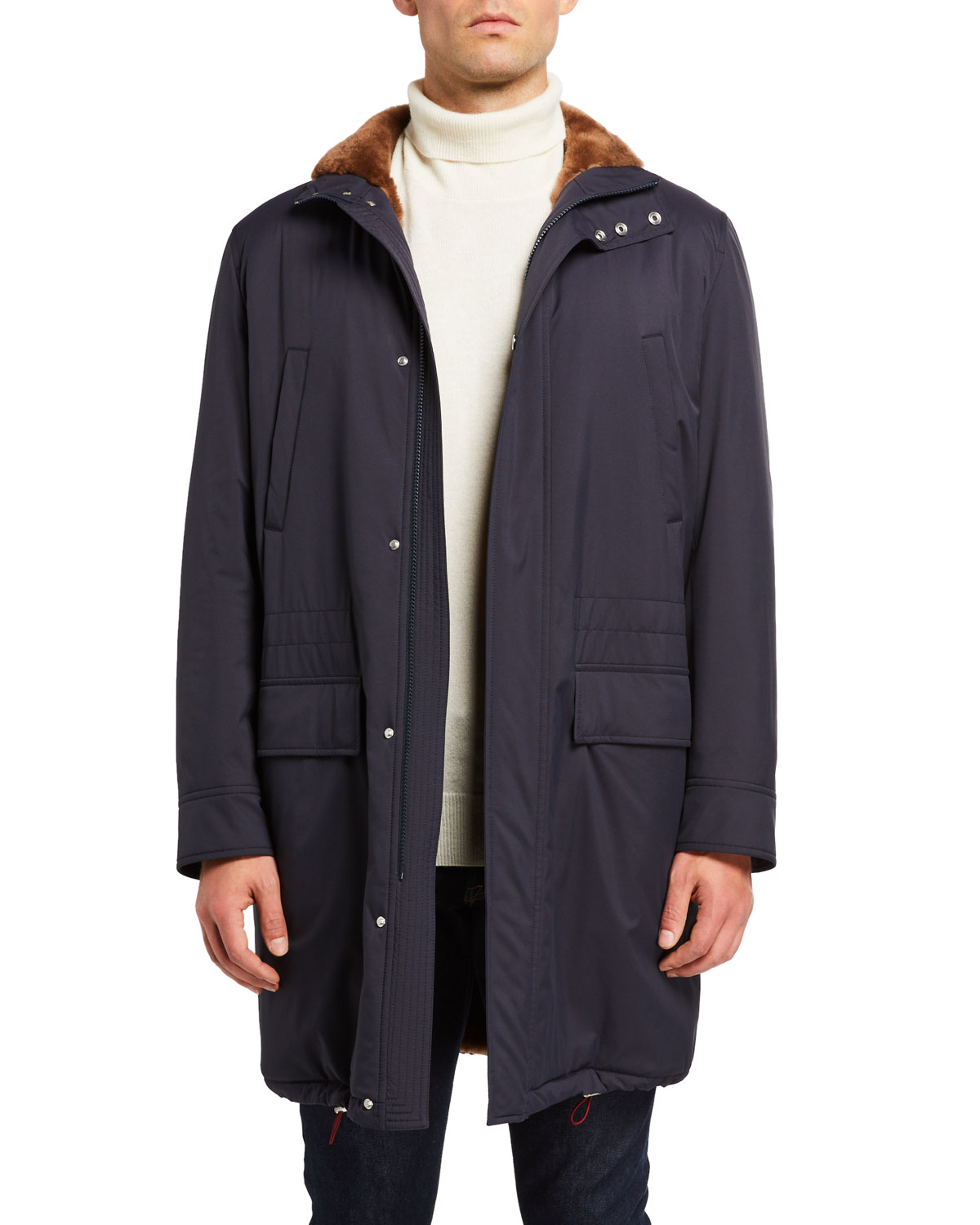 Men's Shearling-Lined Coat w/ Removable Hood